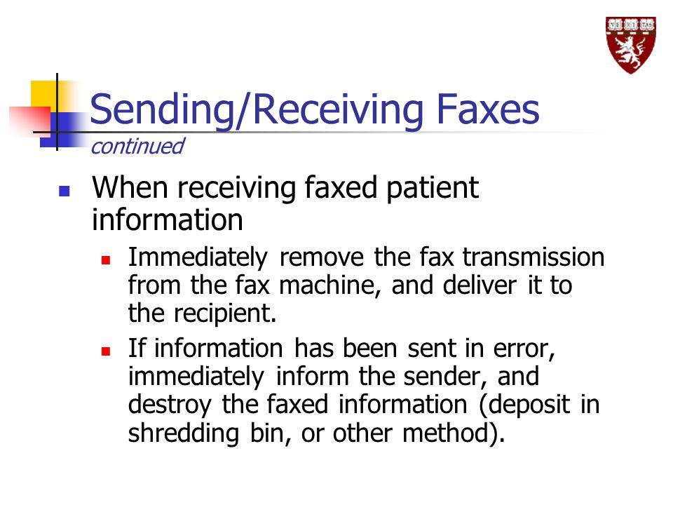 Sending/Receiving Faxes continued