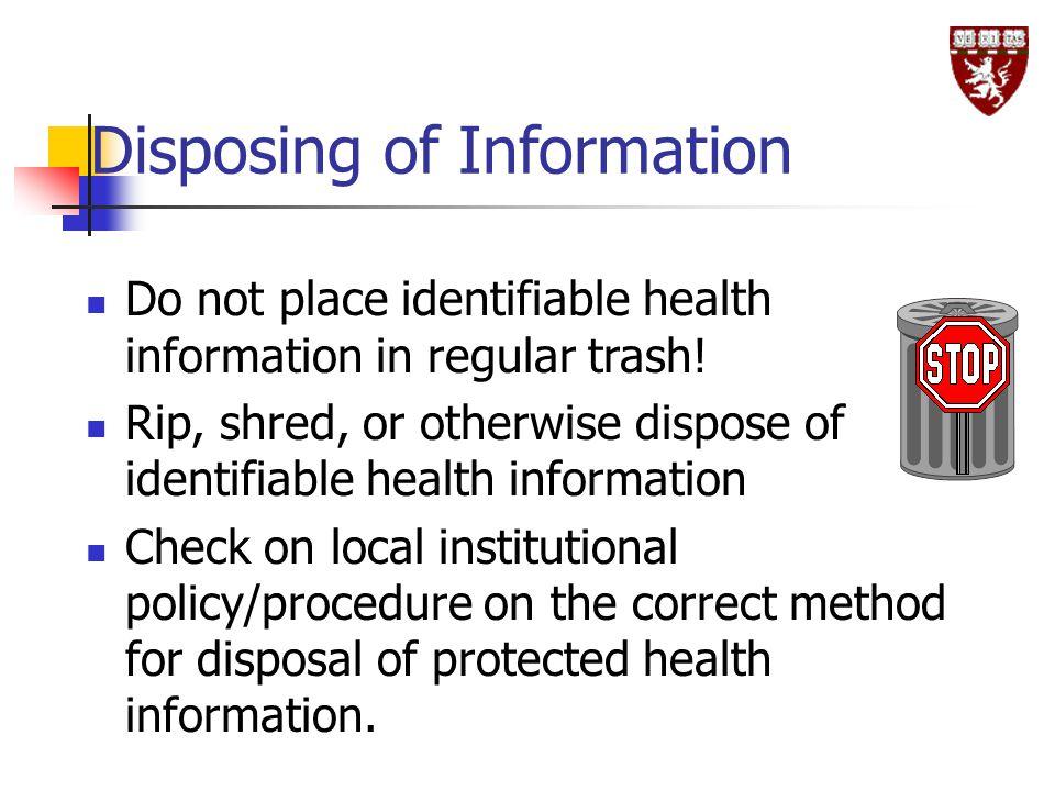 Disposing of Information
