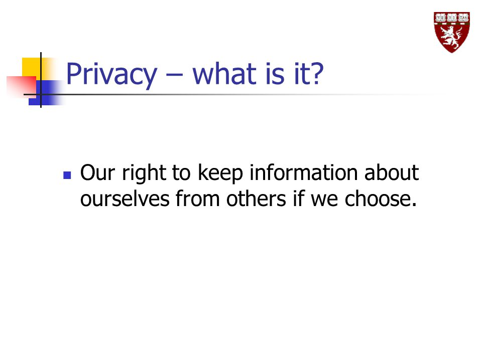 Privacy – what is it Our right to keep information about ourselves from others if we choose.