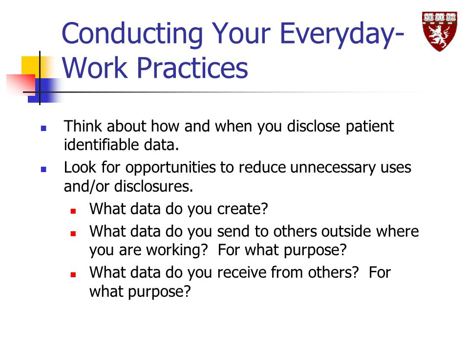 Conducting Your Everyday-Work Practices