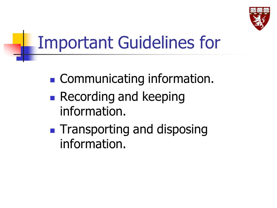Important Guidelines for