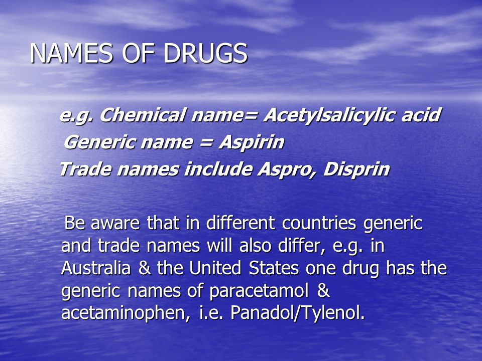 NAMES OF DRUGS e.g. Chemical name= Acetylsalicylic acid
