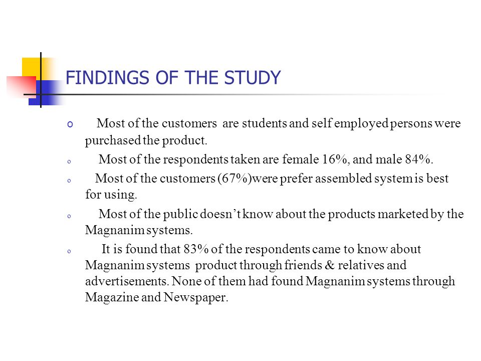FINDINGS OF THE STUDY Most of the customers are students and self employed persons were purchased the product.
