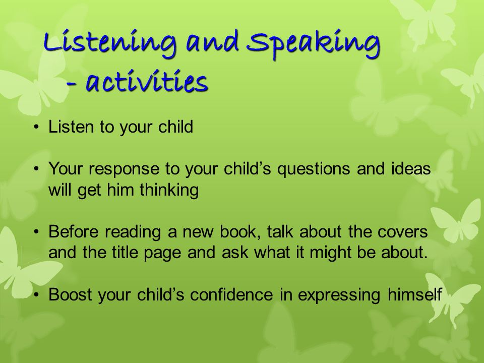 Listening and Speaking - activities