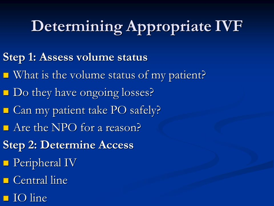 Determining Appropriate IVF