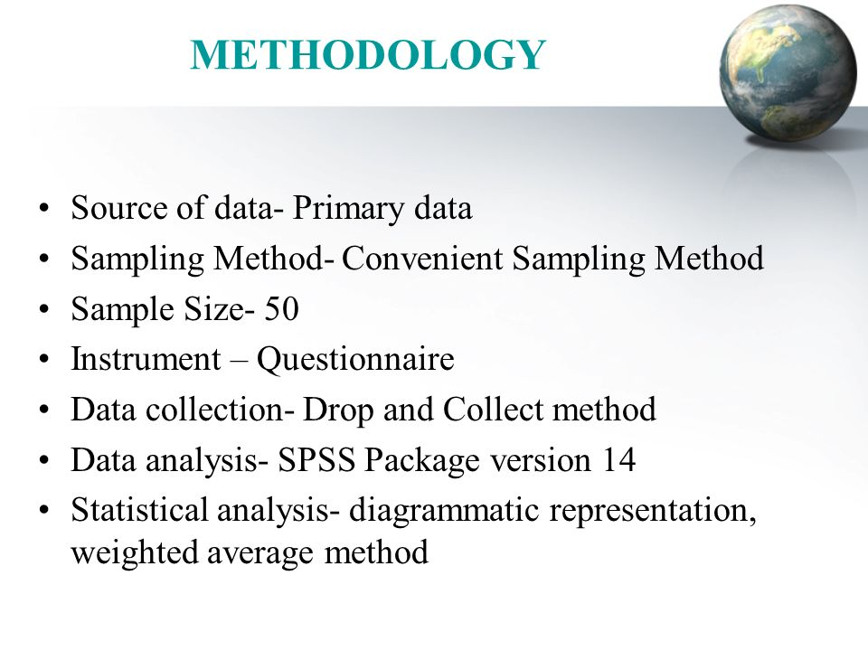 METHODOLOGY Source of data- Primary data