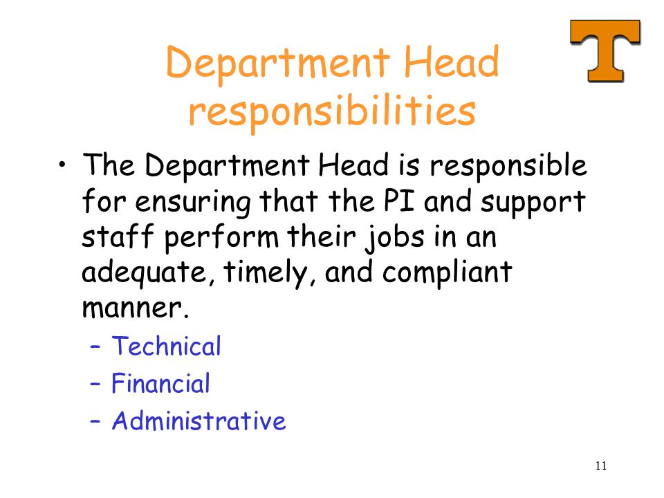Department Head responsibilities