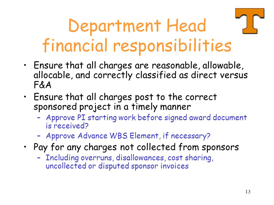 Department Head financial responsibilities