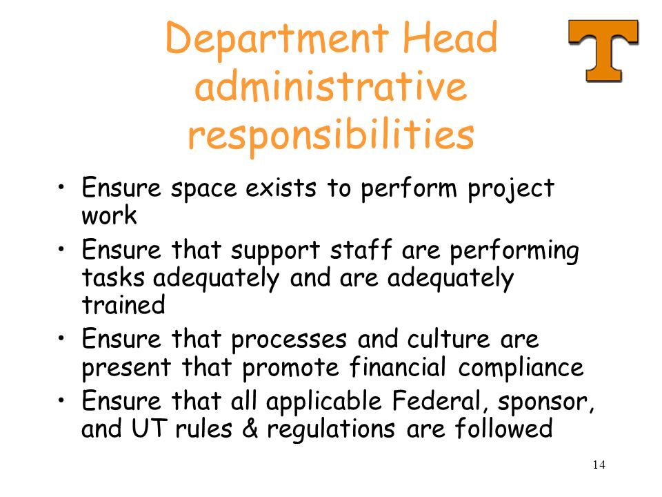 Department Head administrative responsibilities