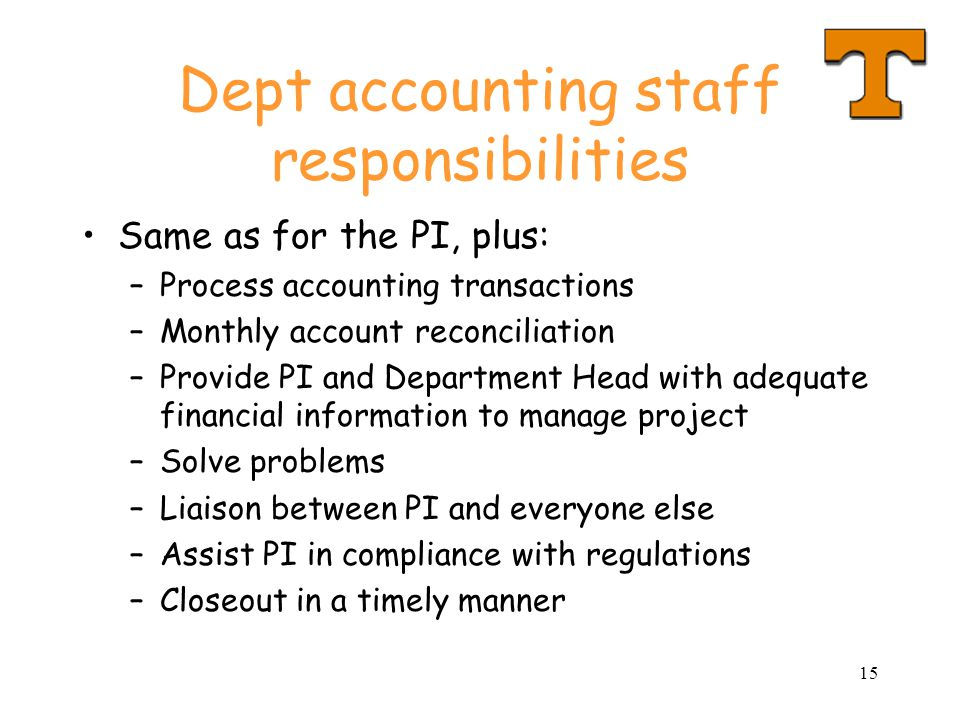 Dept accounting staff responsibilities