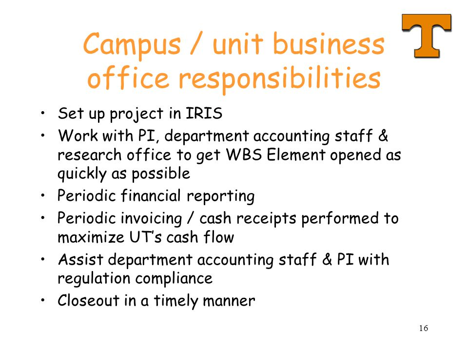 Campus / unit business office responsibilities