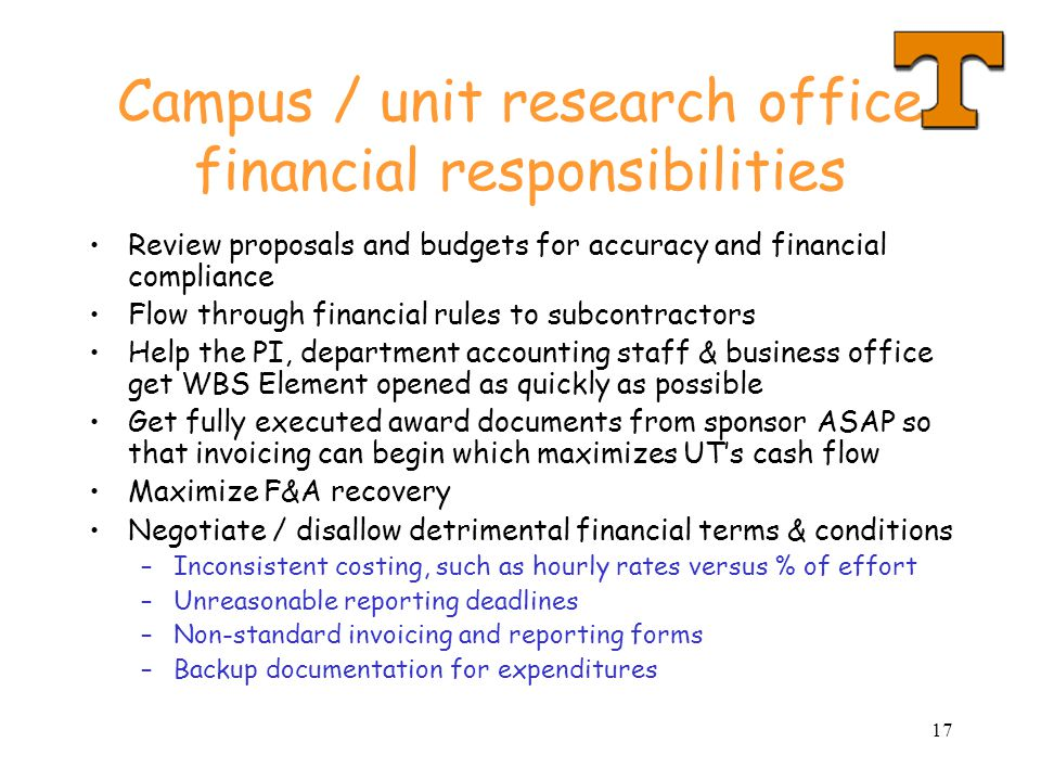 Campus / unit research office financial responsibilities