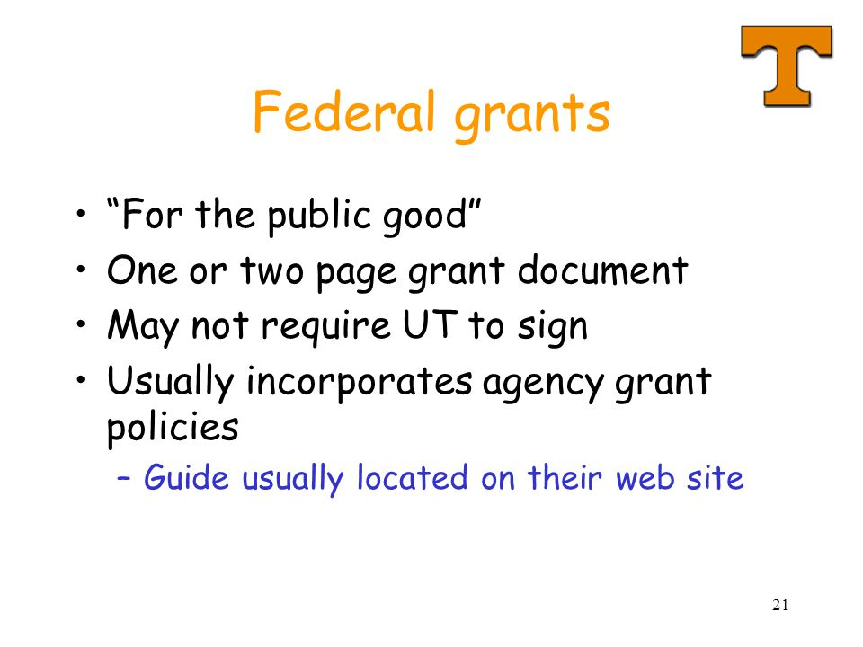 Federal grants For the public good One or two page grant document