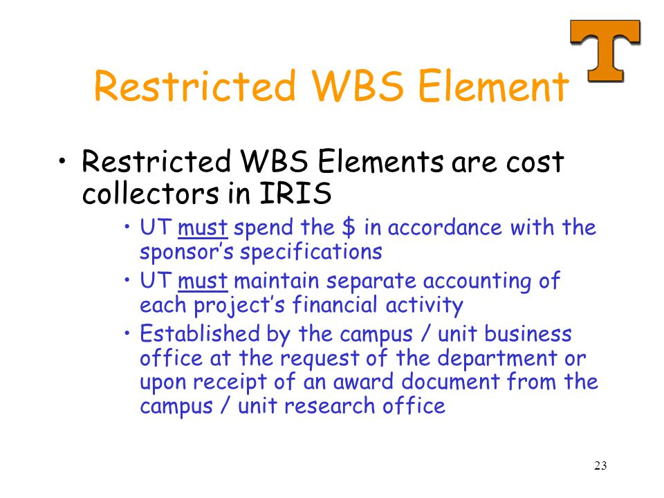 Restricted WBS Element