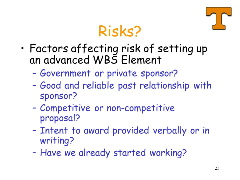 Risks Factors affecting risk of setting up an advanced WBS Element
