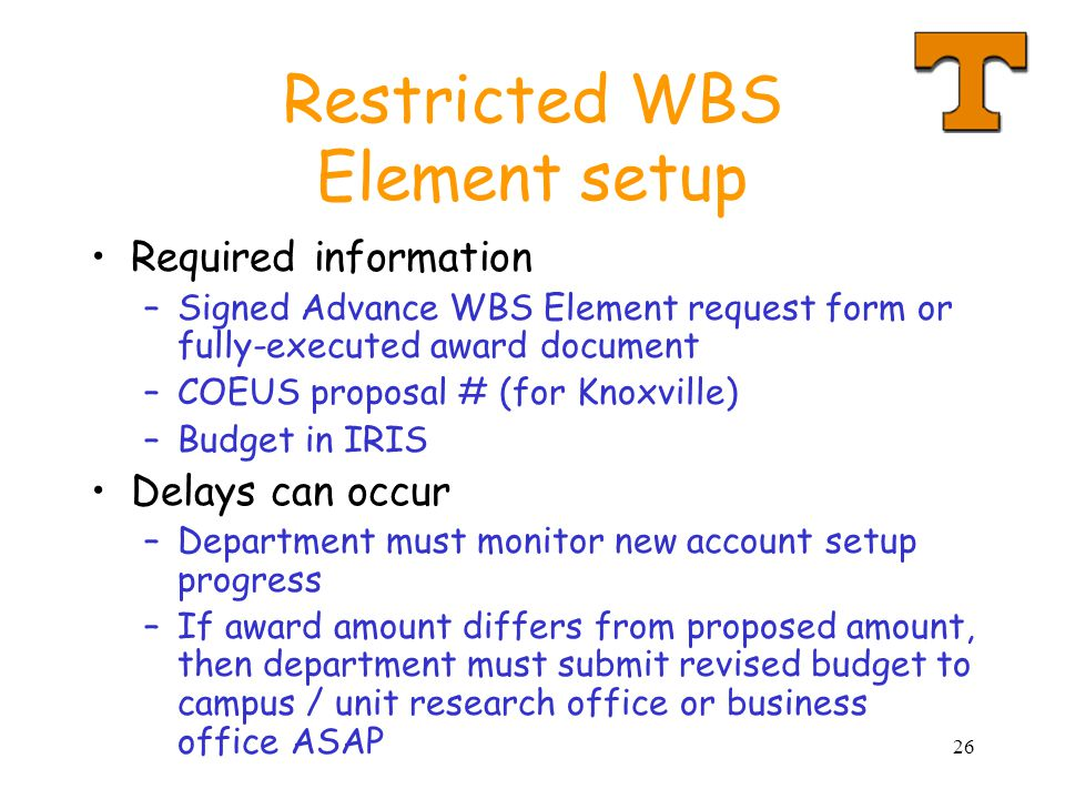 Restricted WBS Element setup