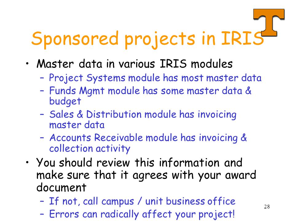 Sponsored projects in IRIS