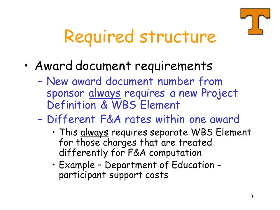 Required structure Award document requirements