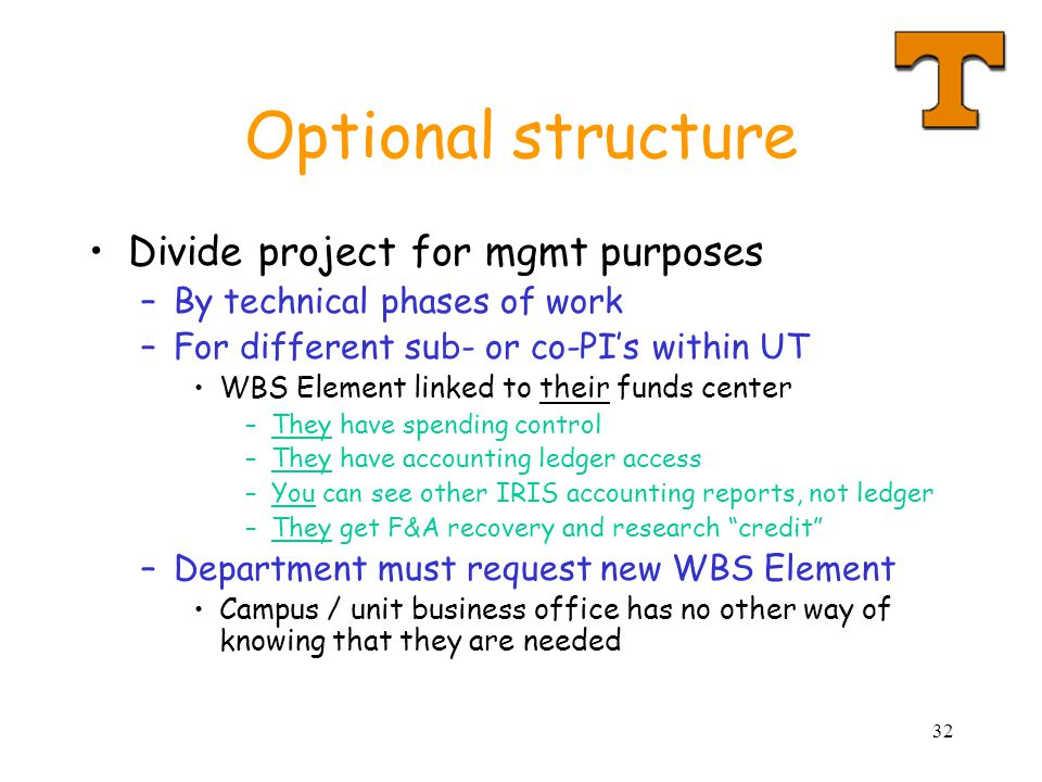 Optional structure Divide project for mgmt purposes