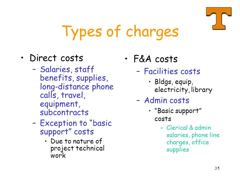 Types of charges Direct costs F&A costs