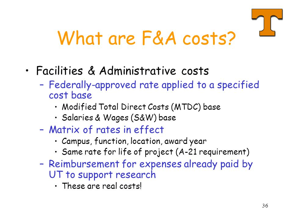 What are F&A costs Facilities & Administrative costs