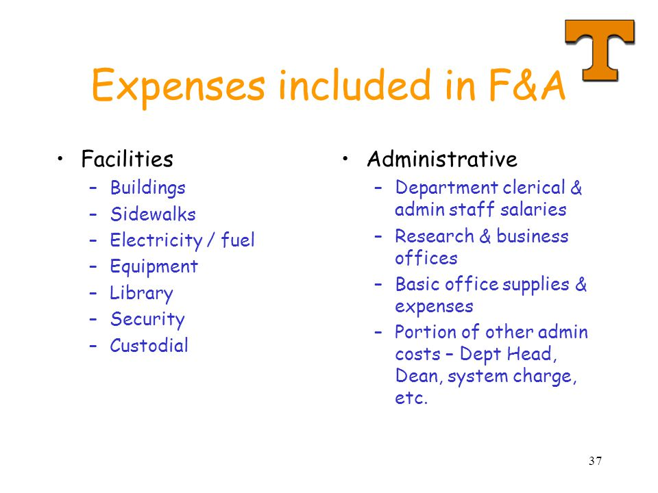 Expenses included in F&A