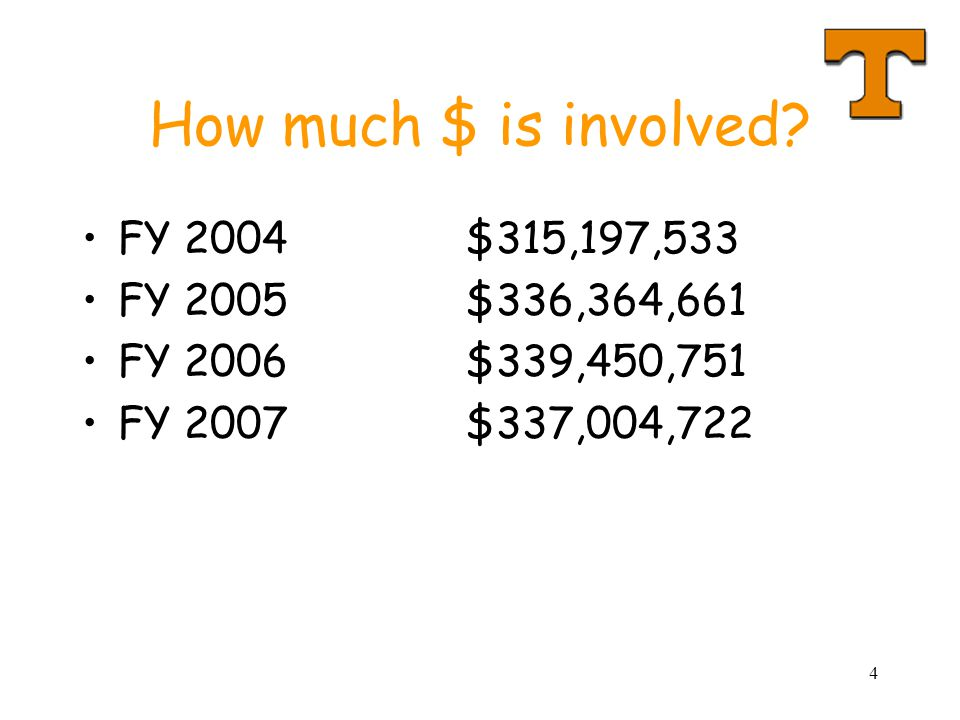 How much $ is involved FY 2004 $315,197,533 FY 2005 $336,364,661