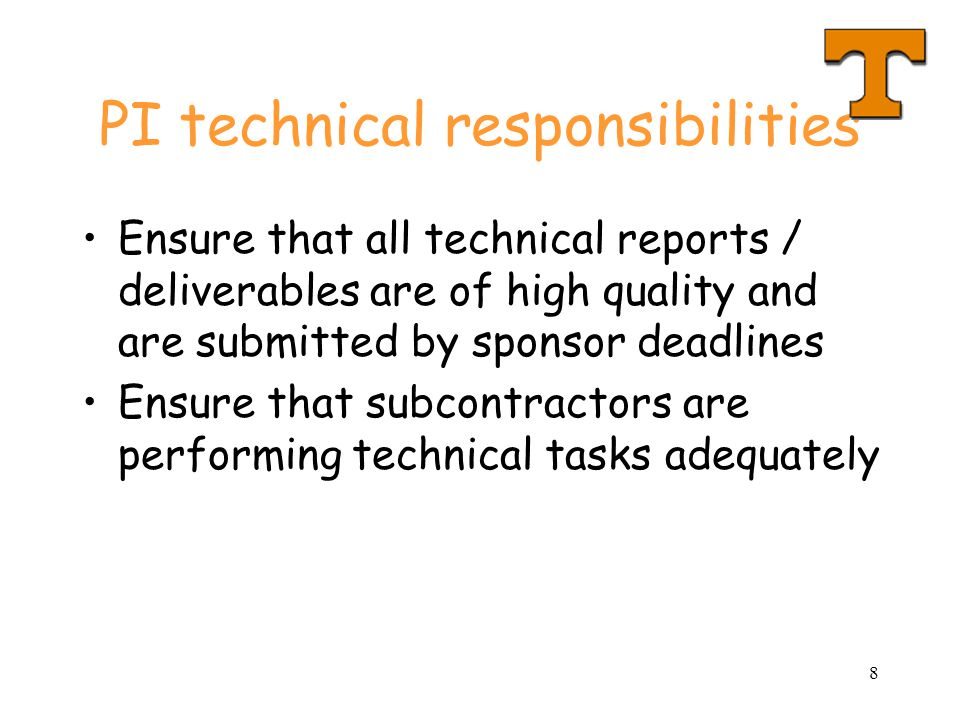 PI technical responsibilities