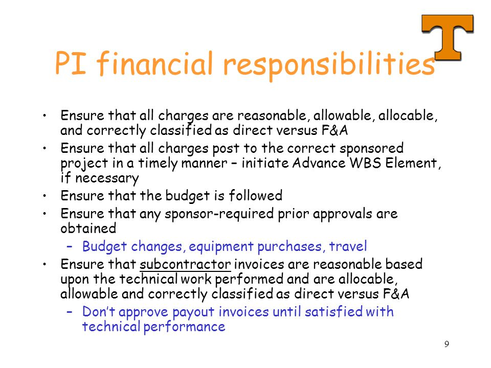 PI financial responsibilities
