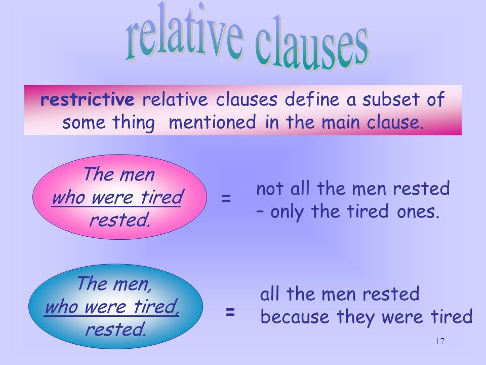 relative clauses restrictive relative clauses define a subset of some thing mentioned in the main clause.