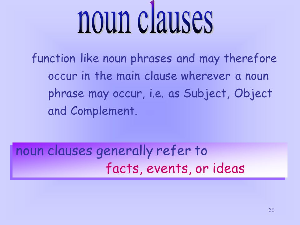 noun clauses noun clauses generally refer to facts, events, or ideas