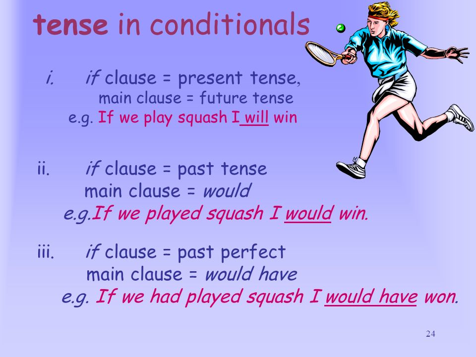 tense in conditionals if clause = present tense,