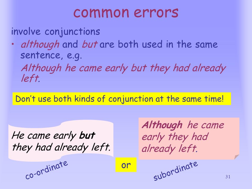 common errors involve conjunctions
