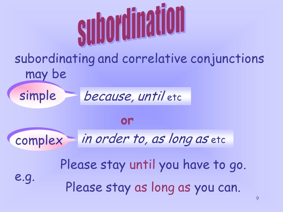 subordination subordinating and correlative conjunctions may be simple