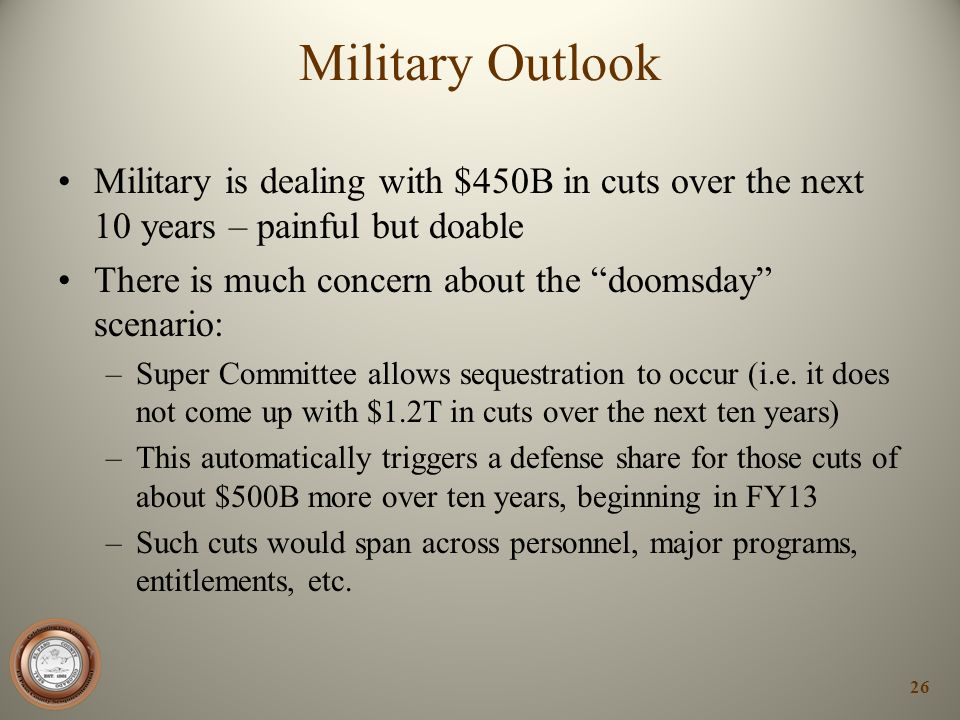Military Outlook Military is dealing with $450B in cuts over the next 10 years – painful but doable.