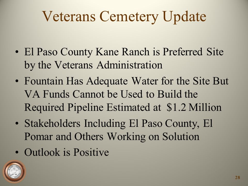Veterans Cemetery Update