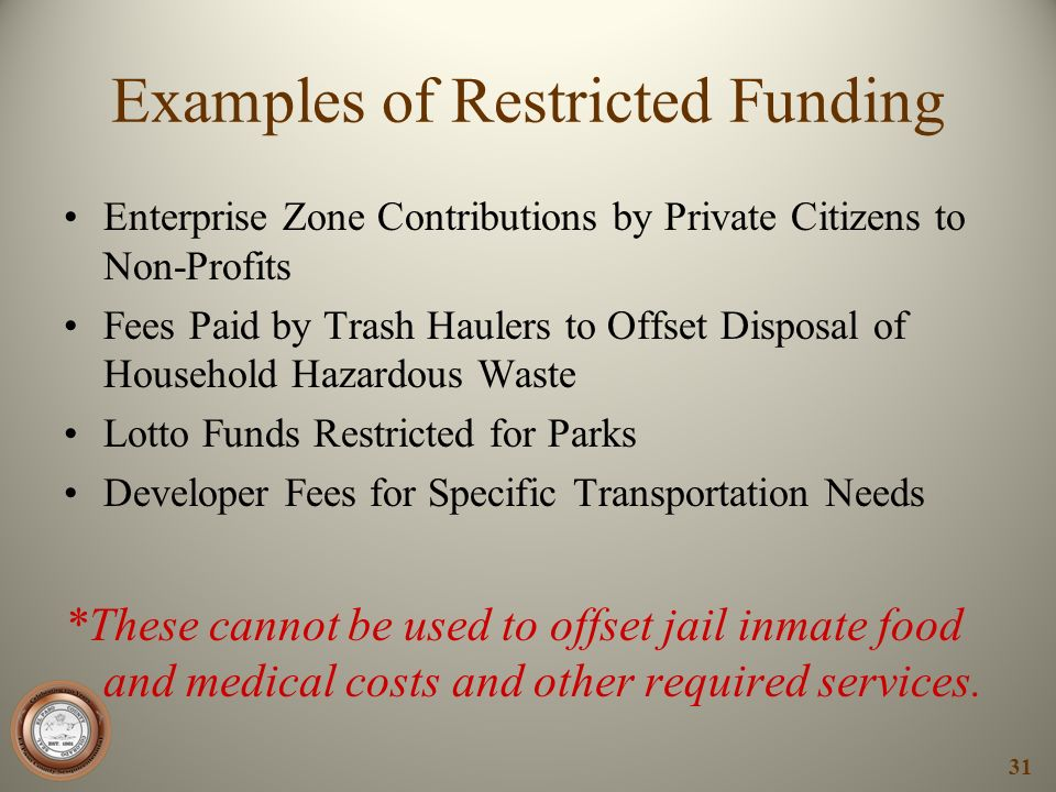 Examples of Restricted Funding