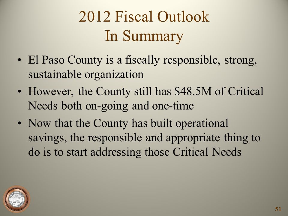 2012 Fiscal Outlook In Summary