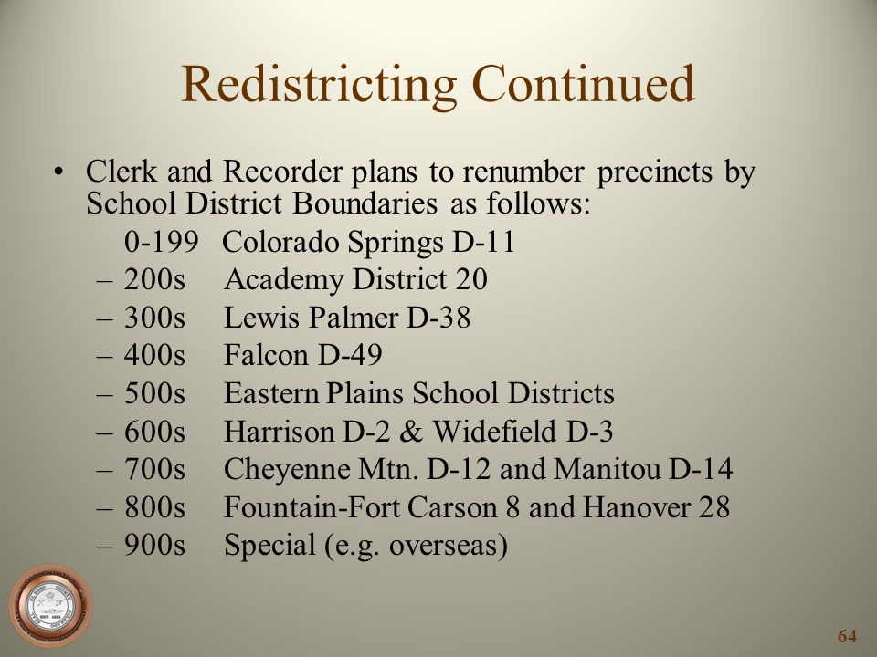 Redistricting Continued