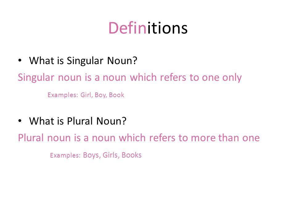 Definitions What is Singular Noun