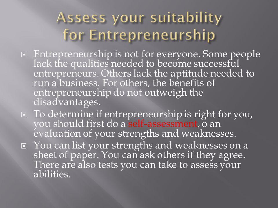 Assess your suitability for Entrepreneurship