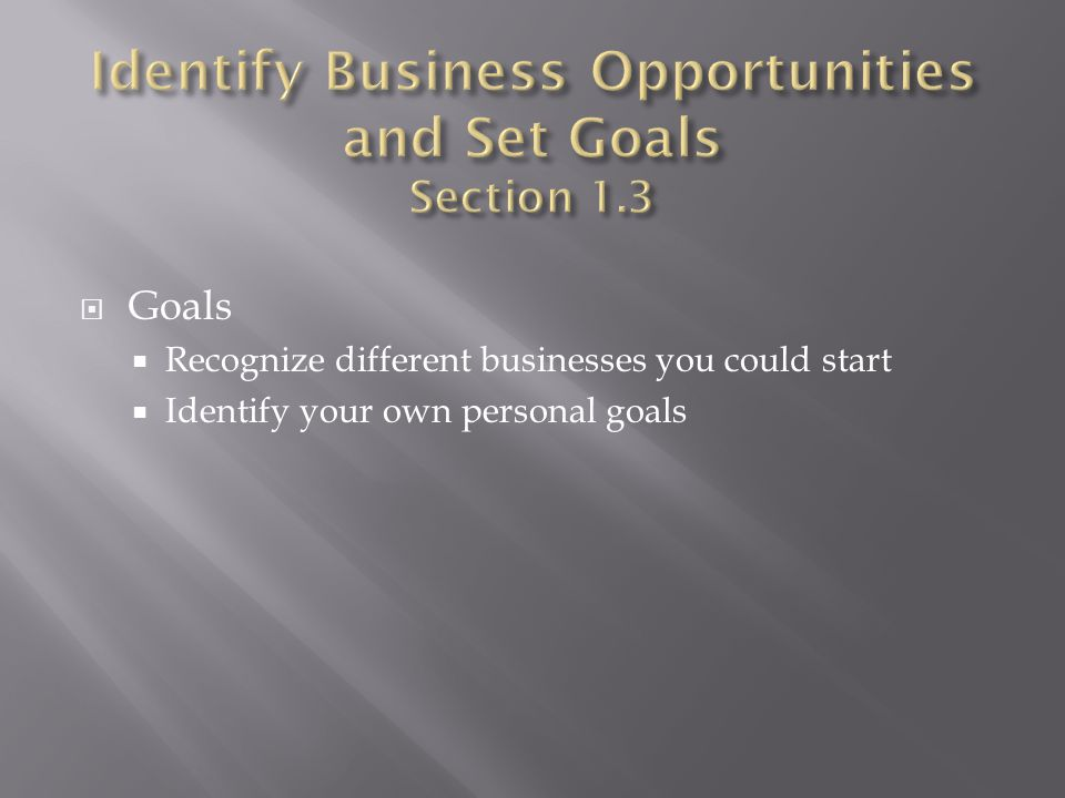 Identify Business Opportunities and Set Goals Section 1.3