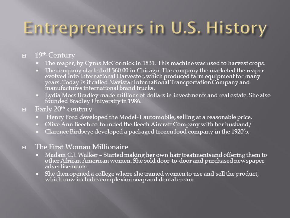Entrepreneurs in U.S. History