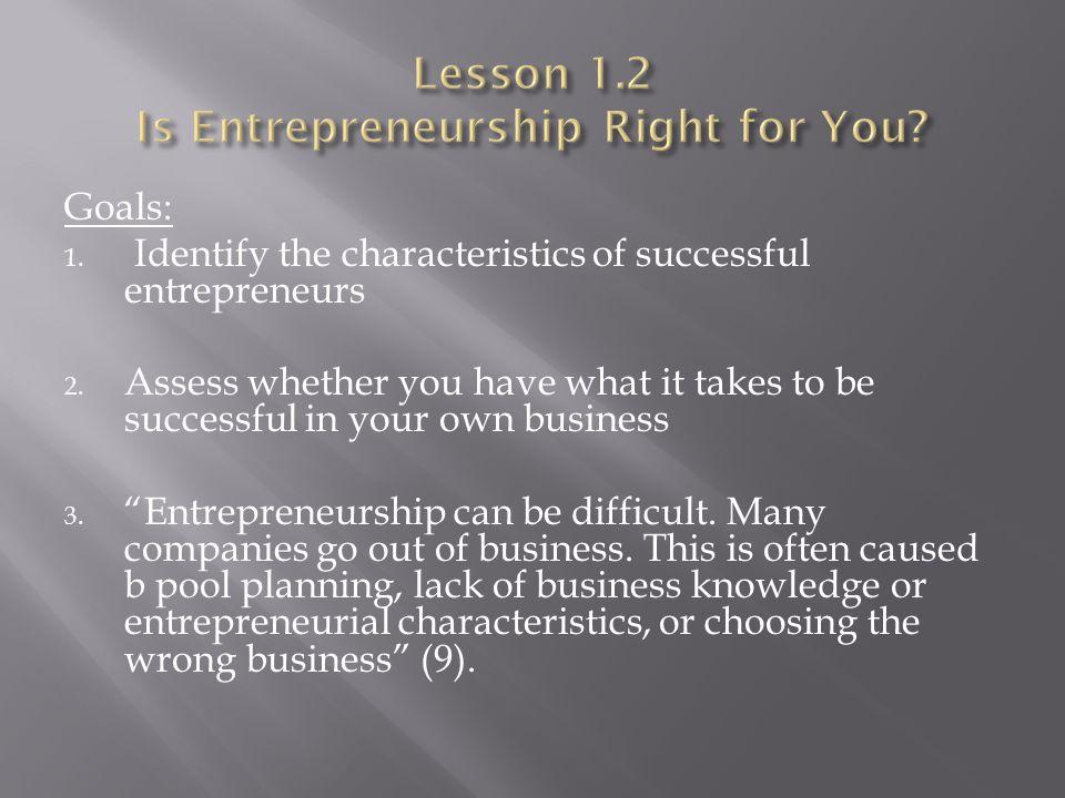 Lesson 1.2 Is Entrepreneurship Right for You