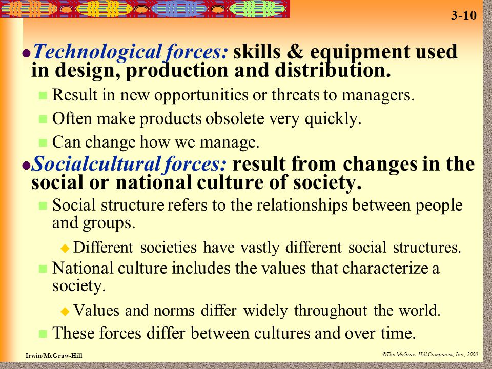 Technological forces: skills & equipment used in design, production and distribution.