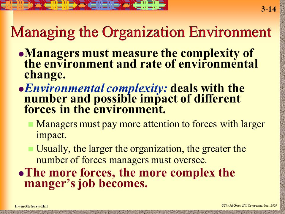 Managing the Organization Environment