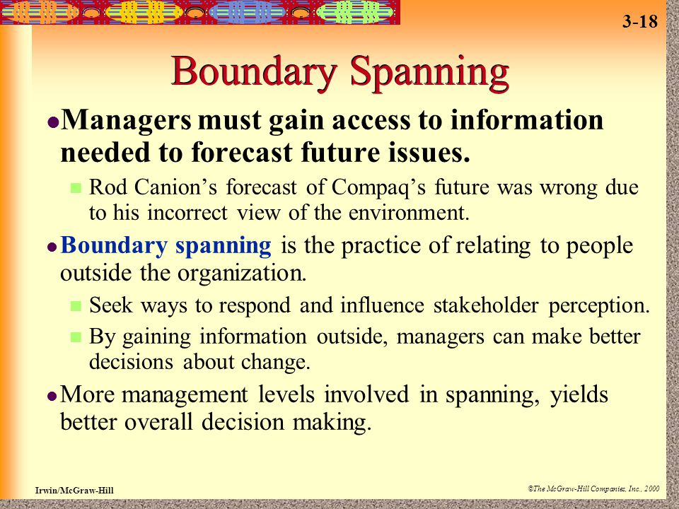 Boundary Spanning Managers must gain access to information needed to forecast future issues.