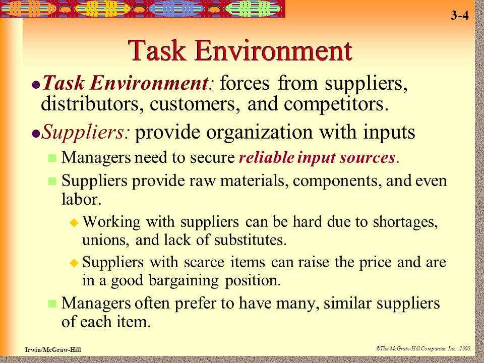 Task Environment Task Environment: forces from suppliers, distributors, customers, and competitors.