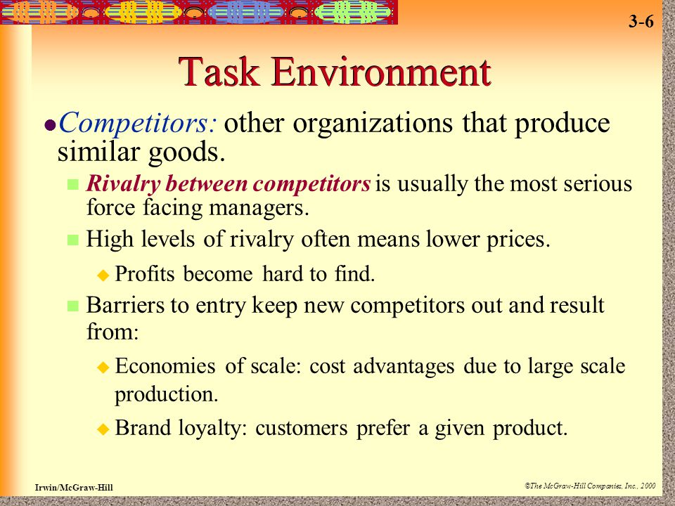 Task Environment Competitors: other organizations that produce similar goods.
