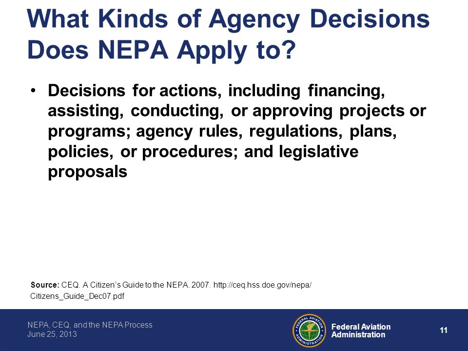 What Kinds of Agency Decisions Does NEPA Apply to